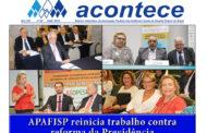 Capa do ACONTECE de abril traz o trabalho da APAFISP contra a reforma da Previdência