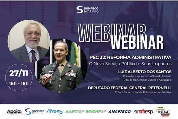 Sindifisco Nacional realiza seminário virtual sobre Reforma Administrativa amanhã (dia 27)