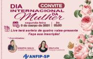 Convite: Em homenagem ao Dia Internacional da Mulher, ANFIP-SP realizará live com sorteio de quatro vales-presente; faça sua inscrição